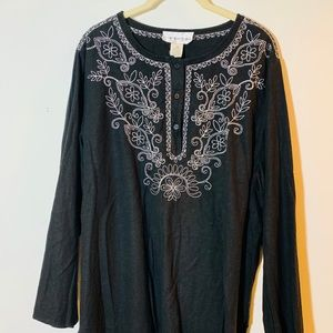 Susan Graver Embroidered Linen Tunic 2X